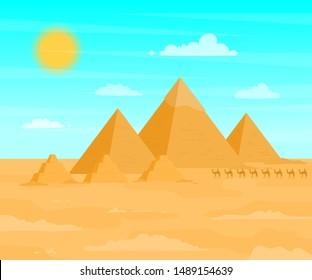 Egyptian Pyramids Travel and Tourism Concept on a Desert Landscape Background Scene Flat Design. Vector illustration