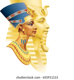 Egyptian queen and the pharaoh on a white background (left)