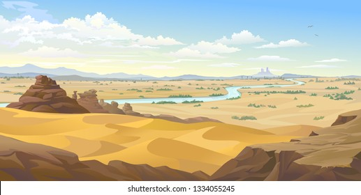 An Egyptian river flowing across the endless Sahara desert.