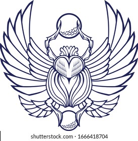 Egyptian scarab beetle symbol holding the sun. Vector and isolated illustration
