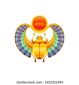 Egyptian scarab. Horus & Ra god symbol. Golden beetle character with wings, sun from ancient Egypt art. 3d realistic scarab jewelry icon. Old style vector illustration isolated on white background.