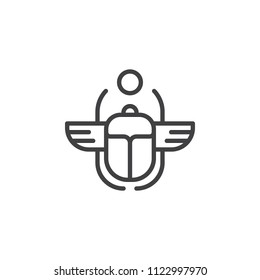 Egyptian Scarab outline icon. linear style sign for mobile concept and web design. Winged scarab Beetle and sun simple line vector icon. Symbol, logo illustration. Pixel perfect vector graphics