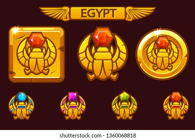Egyptian scarab symbol of pharaoh with colored precious gems. Vector Egyptian Icons