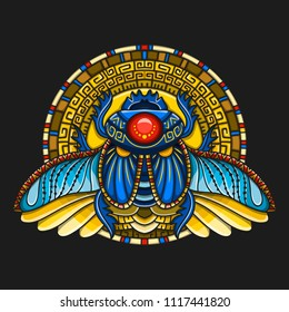 Egyptian scarab symbol of pharaoh, gods Ra, sun. Mythology t-shirt design, tattoos of ancient Egypt