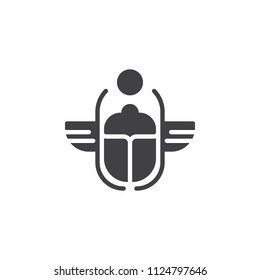 Egyptian Scarab vector icon. filled flat sign for mobile concept and web design. Winged scarab Beetle and sun simple solid icon. Symbol, logo illustration. Pixel perfect vector graphics