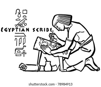 Egyptian Scribe - Retro Clipart Illustration