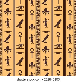 Egyptian seamless pattern with Eye of Horus, Pharaoh, flowers, pyramid, bird, Ankh. Egypt hieroglyphs. Tribal art repeating background texture. Cloth design. Wallpaper