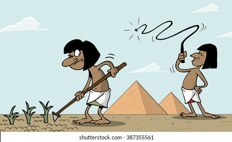 Egyptian slave working in Egypt in front of the pyramids
