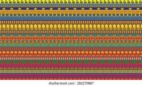 Egyptian stripes with tradition nation elements. Horizontal ornament. Vector