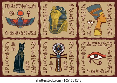 The Egyptian symbols and talismans. Set of vector banners in form of ceramic tiles with hieroglyphs and images on the theme of Ancient Egypt. Advertising posters or flyers for travel Agencies