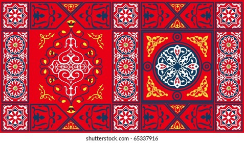 Egyptian Tent Fabric Pattern2 Red-vector