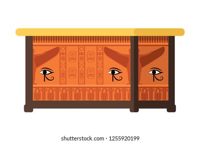 Egyptian tomb, burial building, ancient sarcophagus, landmark, museum piece. Ancient artifact, tomb of Pharaoh with symbolism of the all-seeing eye and egyptian hieroglyphs. Vector illustration.