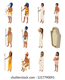 Egyptian vector ancient egypt people character pharaoh horus god man woman cleopatra in egyptology history civilization illustration set isolated on white background