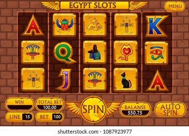 Egyptian vector background main interface and buttons for casino slot machine game, symbols egypt