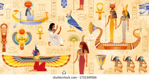 Egyptian vector papyrus with pharaoh element: Ankh, Scarab, Sun. Ancient historical art. Egypt Mythology seamless pattern. Queen & goddess set. Isis with wings, Hathor Nefertiti in boat, Maat with fan