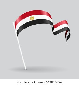 Egyptian wavy flag. Vector illustration.