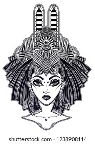 Egyptian woman with beautiful ritual crown of Ra head piece. Can be queen Nefertiti or Isis Goddess of health, marriage, and love. Illustration isolated vector.