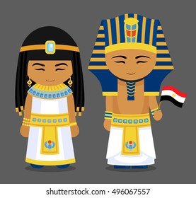 Egyptians in national dress with a flag. Man and woman in traditional costume. Travel to Egypt. People. Vector flat illustration.