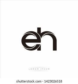 eh e h Initial Letter Split Lowercase Modern Monogram linked outline rounded logo