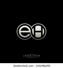 EH E H initial letter linked circle capital monogram logo modern template silver color edition