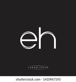 eh e h logo Initial Letter Split Lowercase Monogram Logo White
