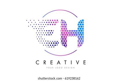 EH E H Pink Magenta Dotted Bubble Letter Logo Design. Dots Lettering Vector Illustration