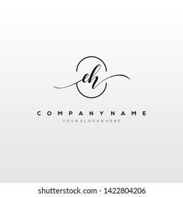 EH handwriting initial logo template vector.