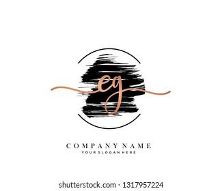 EH handwriting initial  logo vector