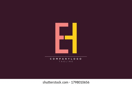 EH HE Abstract initial monogram letter alphabet logo design