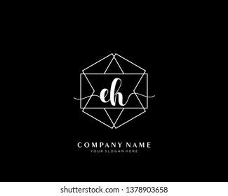 EH initial handwriting logo geometric template vector