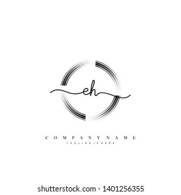 EH initial handwriting logo template vector
