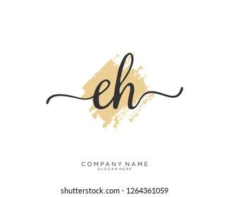 EH Initial handwriting logo vector