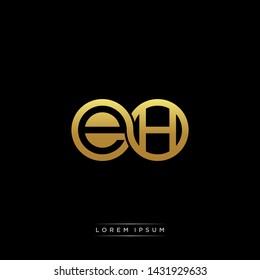 EH initial letter linked circle capital monogram logo modern template