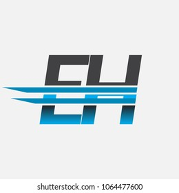 EH initial logo company name colored black and blue, Simple and Modern Logo Design.