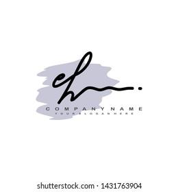 EH initial signature logo. handwriting logo template vector,