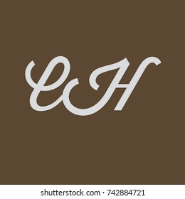 EH Letter creative square background