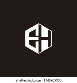 EH Logo Initial Monogram Negative Space Designs Templete