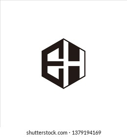 EH Logo Initial Monogram Negative Space Designs Templete with Black color and White Background