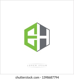 EH Logo Initial Monogram Negative Space Design Template With Green and Grey Color - Vector EPS 10