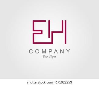 EH Logo. Letter design vector
