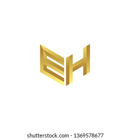 EH Logo letter initial 3d designs templete with gold colors