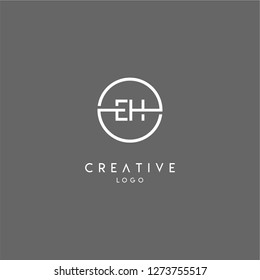 eh logo letter isolated with geometric circle shape creative design concept