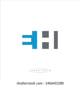 EH Logo Letter with Modern Negative space - Blue and Grey Color EPS 10