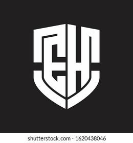 EH Logo monogram with emblem shield shape design isolated on black background