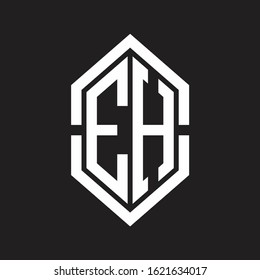 EH Logo monogram with hexagon shape and outline slice style with black and white