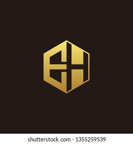 EH Logo Monogram with Negative space gold colors