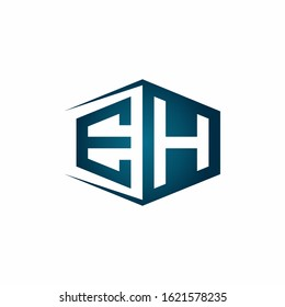 EH monogram logo with hexagon shape and negative space style ribbon design template