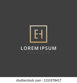 EH. Monogram of Two letters E & H. Luxury, simple, stylish and elegant EH logo design. Vector illustration template.