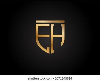 EH shield shape Letter Design in gold color