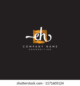 EH signature logo designs or Square EH logo vector mark